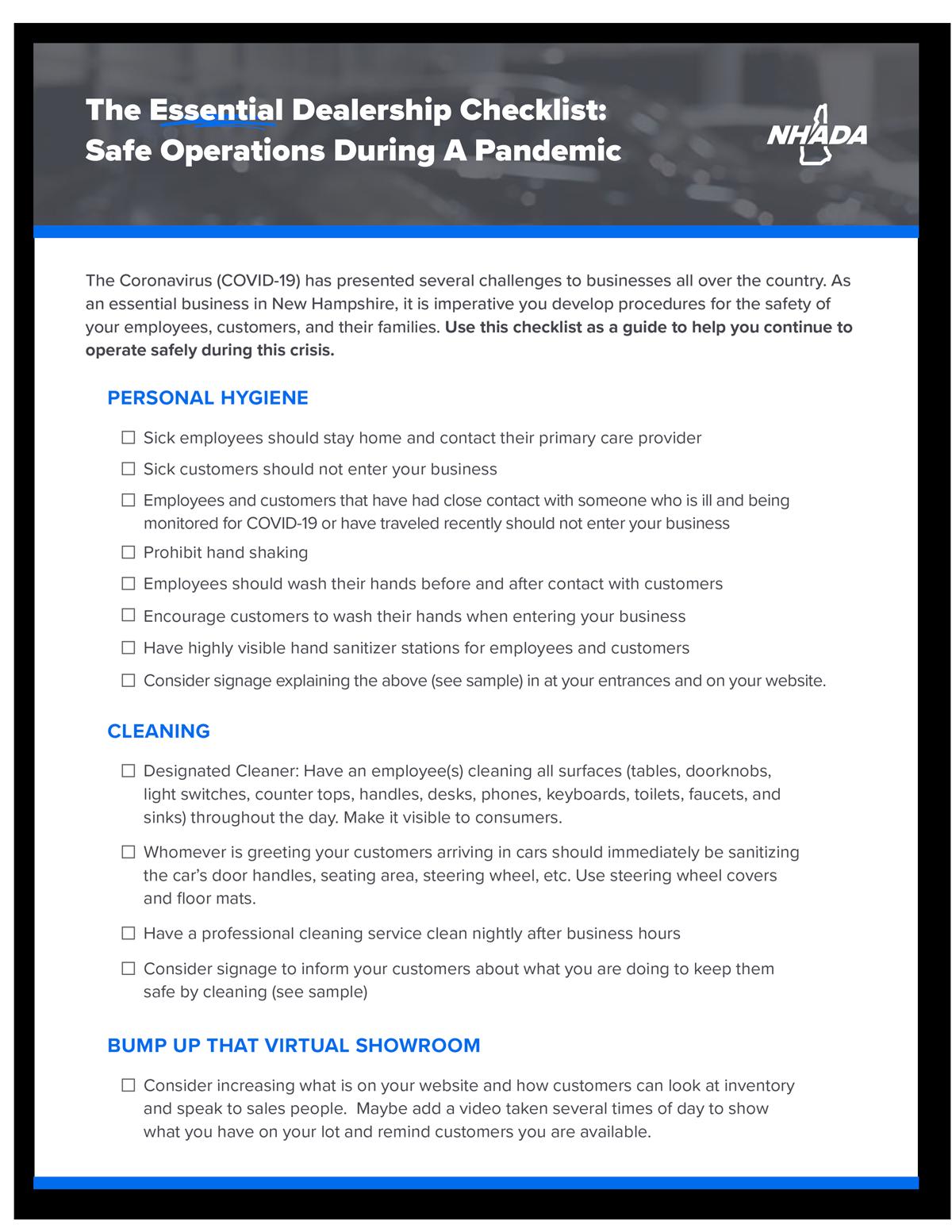 Safe Operations Checklist